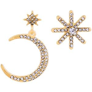 Eight Pointed Star & Moon Gold Earrings